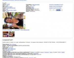 Exemple de fiche profil sur JeContacte