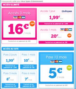 2 tarifs sont disponibles pour s'abonner à EntreCoquins.