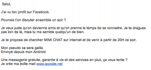 Exemple de spam envoyé par mail par mimichat
