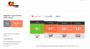 Les tarifs d'abonnement BeCoquin vous de 34,99€ à 13,99€ par mois selon la durée de l'abonnement.